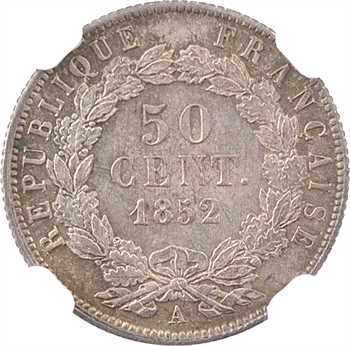 IIe République, 50 centimes LNB, 1852 Paris, NGC MS65