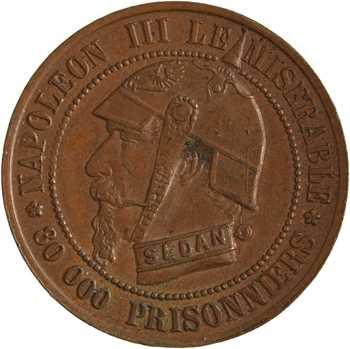Guerre de 1870, Napoléon III le misérable, module cinq centimes en cuivre jaune
