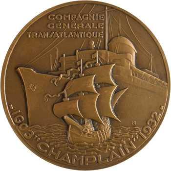 Compagnie Générale Transatlantique, le paquebot Champlain, par Delamarre, dans sa boîte, 1932 Paris