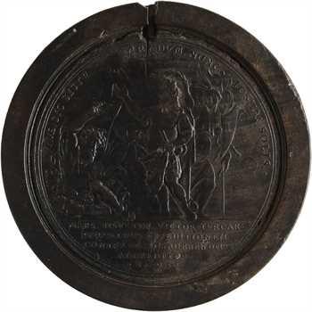 Allemagne, Louis-Guillaume de Bade-Bade (Louis le Turc), prise du commandement suprême sur le Rhin, médaillon en bois par P. H. Müller, 1693