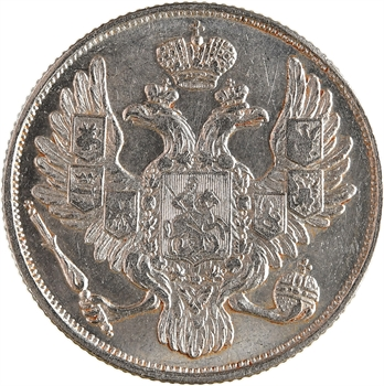 Russie, Nicolas Ier, 3 roubles platine, 1830 Saint-Pétersbourg