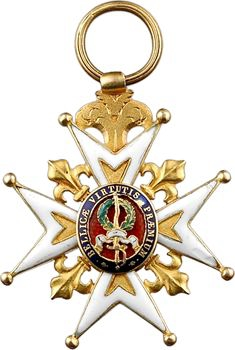 France, Restauration, Ordre de Saint Louis, croix de Chevalier en or, en demi-taille