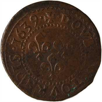 Louis XIII, double tournois 14e type, 1639 La Rochelle