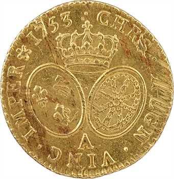 Louis XV, louis d'or au bandeau, 1753, 2d semestre, Paris, trésor de la rue Mouffetard n° 2136