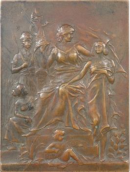 IVe République, plaque de l'Union Française (voyage en A.O.F.), par G.-H. Prud'homme, 1947 Paris
