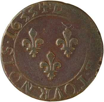 Louis XIII, double tournois 1er type, 1633 Tours