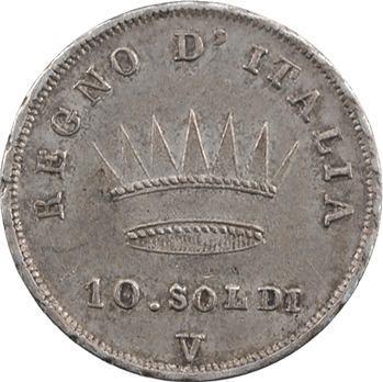 Italie, Napoléon Ier, 10 soldi tranche en creux, 1811 Venise