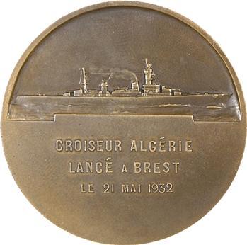 IIIe République, lancement du croiseur Algérie, par Morlon, 1932