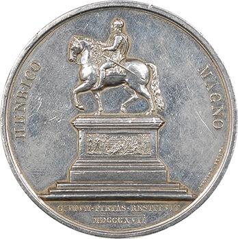 Louis XVIII, rétablissement de la statue équestre d'Henri IV à Paris, 1817 Paris