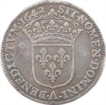 Louis XIII, quart d'écu d'argent, 2e type (1er poinçon), 1642 Paris (point)