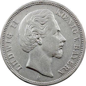 Allemagne, Bavière (royaume de), Louis II, 5 mark, 1874 Munich
