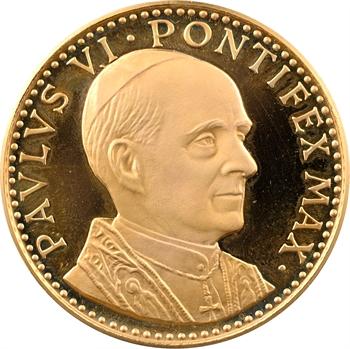 Vatican, Paul VI, voyage du Pape aux Etats-Unis et discours prononcé à l'O.N.U., médaille en or PROOF, 1965