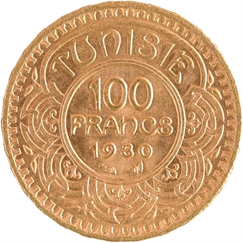 Tunisie (Protectorat français), Ahmed, 100 francs or, AH 1349 (1930) Paris