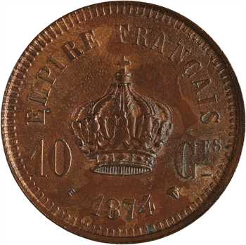 Napoléon IV, essai de 10 centimes, 1874 Bruxelles, Würden