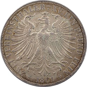 Allemagne, Francfort (ville de), double thaler, 1861 Francfort