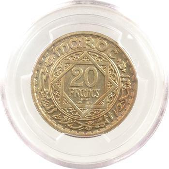 Maroc, Mohammed V, essai de 20 francs, AH 1366 (1946) Paris, PCGS SP65