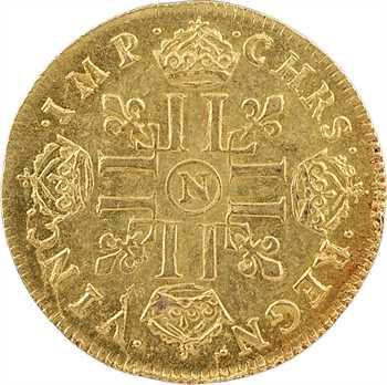 Louis XIV, louis d'or à la mèche longue, 1652 Montpellier, trésor de Montrichard n° 81