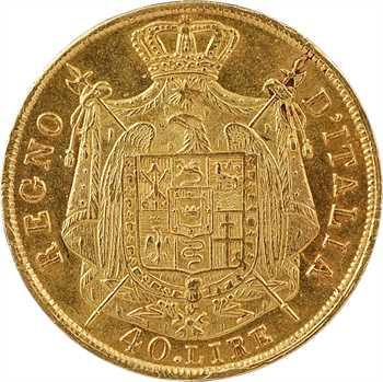 Italie, Napoléon Ier, 40 lire tranche en creux, 1811/01 Milan