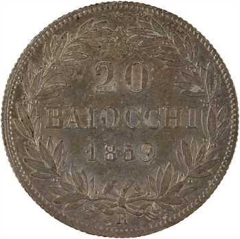 Vatican, Pie IX, 20 baiocchi, 1859 (An XIII) Rome