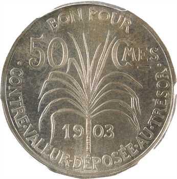 Guadeloupe, essai de 50 centimes, 18 pans, 1903 Paris, PCGS SP64