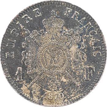 Second Empire, 1 franc tête laurée, 1870 Strasbourg
