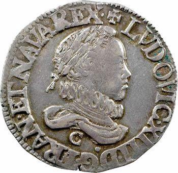 Louis XIII, demi-franc 4e type, 1615 Saint-Lô, variété sans lis au revers