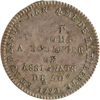 Constitution, bon pour 10 sols Lefèvre et Lesage, frappe monnaie, An 4, 1792 Paris