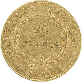 Premier Empire, 20 francs calendrier révolutionnaire, An 13 Paris