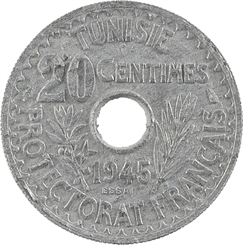 Tunisie (Protectorat français), Mohamed Lamine, essai de 20 centimes, 1945 Paris