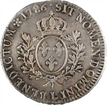 Louis XVI, écu aux branches d'olivier, 1786 Bayonne