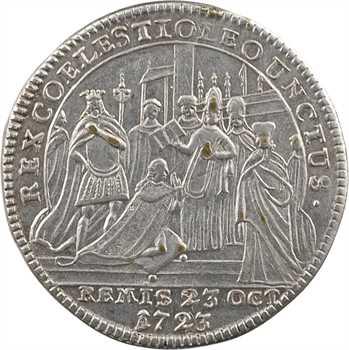 Louis XV, sacre à Reims le 25 octobre 1722, bronze-argenté, après 1740, Nuremberg