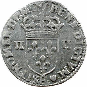 Louis XIII, quart d'écu, croix de face, 1642 Angers