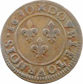 Louis XIII, double tournois, 1630 Lyon