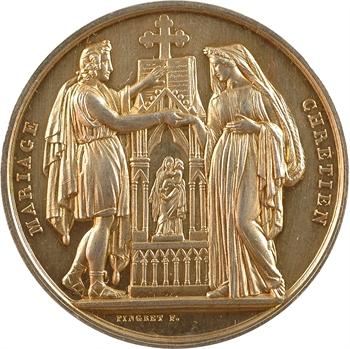 IIIe République, médaille de mariage à monogramme rapporté, par Pingret, 1883 Paris