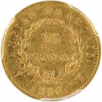 Cent-Jours, 20 Francs Empire, 1815 Lille, PCGS AU50