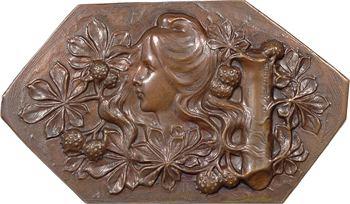 Rasumny (F.) : plaque, épreuve uniface, buste de jeune femme, s.d. Paris