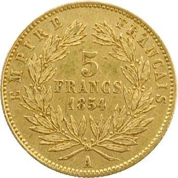 Second Empire, 5 francs tête nue, petit module, 1854 Paris, tranche striée