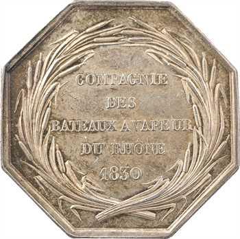 Louis-Philippe Ier, Compagnie des bâteaux à vapeur du Rhône, par Barre, 1830 Paris