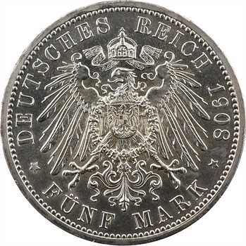 Allemagne, Saxe-Weimar-Eisenach (grand duché de), Guillaume-Ernest, 5 mark, 1908 Berlin