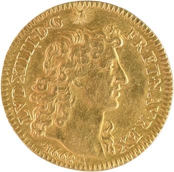 Louis XIV, louis d'or à la tête nue, 1er type, 1668 Paris