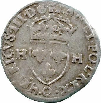 Henri III (sous la Ligue), douzain aux 2 H, 1er type, 1594 Narbonne