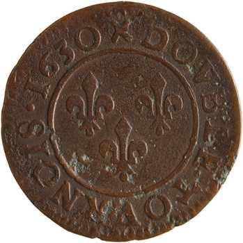 Louis XIII, double tournois 7e type, 1630 Lyon