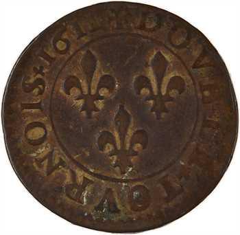 Louis XIII, double tournois 1er type, 1611 Lyon
