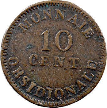 Premier Empire, siège d'Anvers, 10 centimes 1814 R