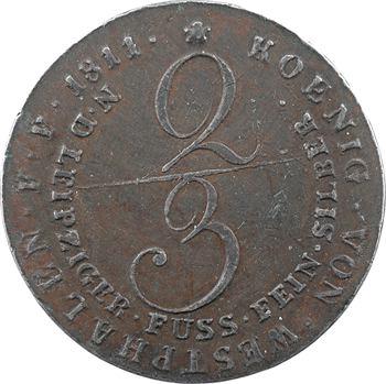 Allemagne, Westphalie (royaume de), Jérôme Napoléon, 2/3 de thaler, épreuve en étain, 1811 Clausthal