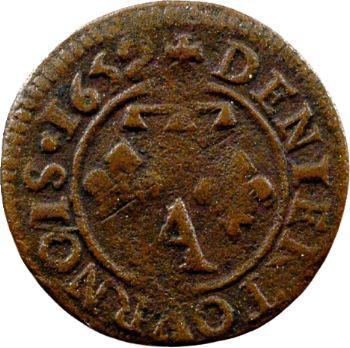Dombes (principauté de), Gaston d'Orléans, denier tournois type 13, 1652 Trévoux