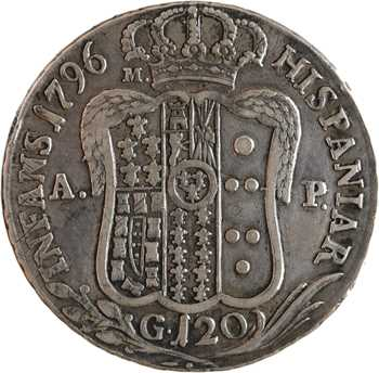 Italie, Naples (royaume de), Ferdinand IV, 120 grana, 1796 Naples