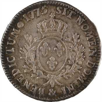 Louis XVI, écu aux rameaux d'olivier, 1775 Aix-en-Provence