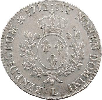 Louis XV, écu à la vieille tête, 1772 Bayonne