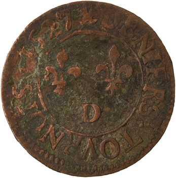 Louis XIII, denier tournois 4e type, 1627 Lyon
